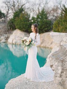 Stunning bridal portraits at a Rock Quarry via Magnolia Rouge