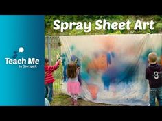 Spray sheet art is a playful process focused art activity to try outside! Learning Activities, Early Childhood, Arts And Crafts, Teaching, Education, Creative, Kids, Painting, Craft Ideas