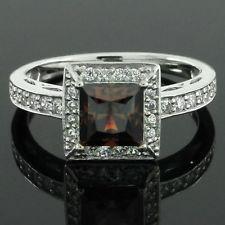 1.25ct VVS1 Princess Cut Chocolate & White Diamond 14k Gold Engagement Ring