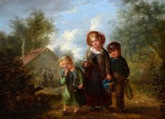 """Going to School"". Aattributed to William Hemsley (1819-1893)"