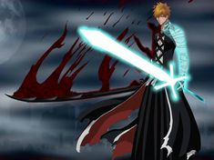 Ichigo with shinigami and Quincy Swords bleach