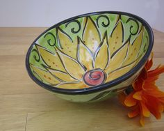 Majolica Pottery Bowl Earthenware Clay by ClayLickCreekPottery, $25.00