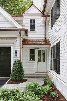 Copper roofing, gutters/down spouts, black shutters