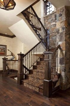 Great combination of dark wood floors, dark stairs and rock wall. New Residential Homes traditional staircase - A Interior Design Home Stairs Design, Interior Stairs, House Design, Wall Design, Railing Design, Stair Design, Interior Shutters, Design Bedroom, Bedroom Ideas