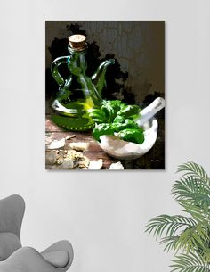 Watercolor image of a kitchen scene where the ingredients for homemade pesto have been assembled. Rustic backdrop of cracked painted walls and rough hewn wooden table sent the scene for some classic cooking.  Cooking, kitchen, food, meal, preparation, Italian, Italy, still life, basil, herbs, garlic, olive oil, cruet, mortar, pestle, pignolias, pine nuts, cheese, parmesan cheese, Parmigiano Reggiano, pesto, wooden table