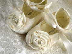 Victoria Wedding Baby Girl Shoes, Wedding Flower Girl, Christening, Handmade by Pink2Blue.. $36.00, via Etsy.