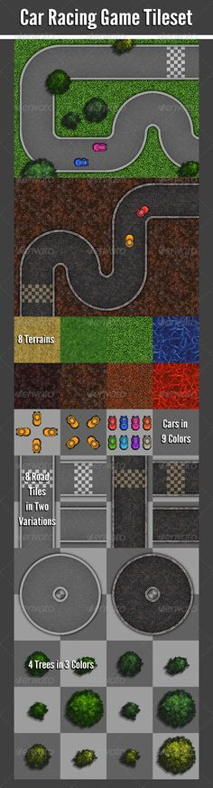 Car Racing Game Tileset - Tilesets Game Assets
