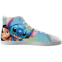 Lilo and Stitch Shoes ($60) ❤ liked on Polyvore featuring shoes, hi top canvas shoes, canvas high tops, high top canvas shoes, canvas shoes and hi-tops