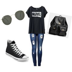 Normal Day by lifesbeautifultragedy on Polyvore featuring polyvore fashion style Uniqlo Converse Coach Ray-Ban