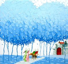 Awesome colorful paintings by Phan Thu Trang - Ego - AlterEgo Pinturas Em Tom Pastel, Art Bleu, Beautiful Vietnam, Art Asiatique, Naive Art, Colorful Paintings, Blue Art, Dot Painting, Asian Art