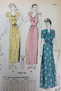 Catalog page from a 1944 Butterick catalog. #sleepwear #vintagesewing #vintagefashion