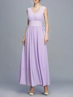 Shop Maxi Dresses - Purple Lace Up V Neck Simple Maxi Dress online. Discover unique designers fashion at StyleWe.com.