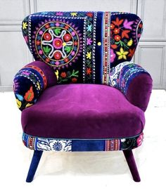 Patchwork armchair with Suzani fabrics from name design studio. Funky Furniture, Colorful Furniture, Painted Furniture, Furniture Design, Purple Furniture, Bohemian Furniture, Coaster Furniture, Furniture Chairs, Furniture Makeover