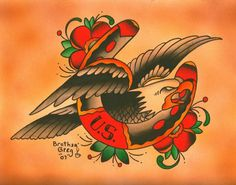 Eagle Horseshoe by Brother Greg Traditional Tattoo Canvas Art Print