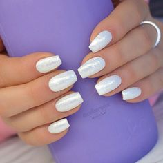 New nails for my sweet 💗💜💗 Light Elegance hard gels used: White Swimsuit & Gold Sparkle pigment ✨ ✨Light Elegance Ambassador and… Get Nails, Fancy Nails, Love Nails, Trendy Nails, Hair And Nails, Fabulous Nails, Gorgeous Nails, Ballerina Nails, Manicure E Pedicure