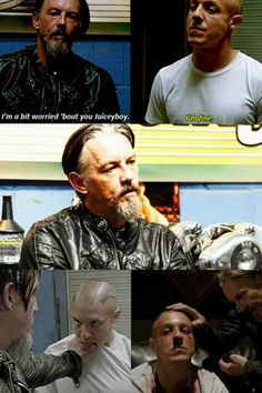 """Chibs & Juice. For me, this scene was Chibs basically saying """"I love you, but you had this coming."""" I also love that they did a specific shot of Chibs taking off his rings before the beat down-he didn't want to hurt Juice too badly. I hope they are good now, but I somehow doubt it.  #Chibs #Juice #SOA"""