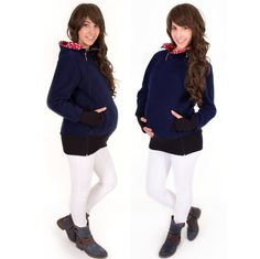 Viva la Mama | Baby Carrying Jacket TRIO (3in1- navy/red-white - stars). Hoody for pregnancy, maternity, baby wearing and everyday use. No worries about the blanket not covering toes or fingers!