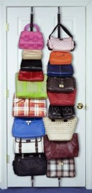 Purse & Handbag Storage Straps; These straps install over both ends of the door (no hardware needed), and there are a dozen or so slips to hold bags that run the length of the straps. A great way to save space in a closet.