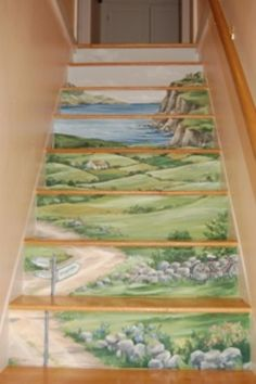 Hand Painted Mural of Ireland on Staircase created by Renee' MacMurray
