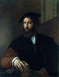 Parmigianino (Italian, 1503–1540), Portrait of a Man, c. 1530. Oil on canvas, 35 x 26 3/4 in. (88.9 x 68 cm) a rare portrait by the Manneris...
