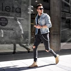 Super Ideas For Sweatshirt Outfit Men Mens Fashion How To Wear Denim Jacket, Denim Jacket Fashion, Men Denim Jacket Outfit, Black Denim Jacket Men, Denim Men, Jacket Jeans, Chelsea Boots Outfit, Sweatshirt Outfit, Outfits Hipster