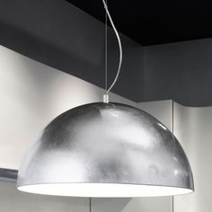 Kitchen Pendants - The Gaetano Large LED Pendant light has a very simplistic design. Constructed of a large silver Steel Dome. Kitchen Pendant Lighting, Kitchen Pendants, Home Lighting, Modern Lighting, Light Fixtures, Ceiling Lights, Led, Steel, Silver