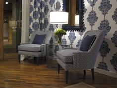 Thibaut Fine Furniture Showroom in High Point, located at #315 Historic Market Square. Seen here: Arturo Damask wallpaper in Navy on White; Montclair Chairs in Circuit in Royal Blue with Benjamin Moore Hudson Bay finish #hpmkt