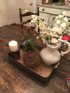 Centerpiece using items from Hobby Lobby (ceramic pitcher was a yard sale find)