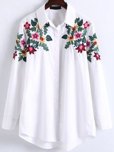 Blusa asimétrica con bordado floral-Sheinside