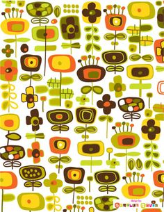 Pattern - Flowers in greens, oranges, yellows.