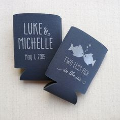 Two Less Fish in the Sea - Personalized Wedding Coozies