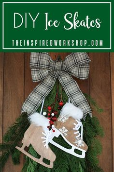 DIY Ice Skate Winter Decor - These adorable ice skates can easily be cut on the scroll saw or jigsaw! They are an easy cut out but yet, dress them up with just a few little items like fur and real rope laces and the become so cute, you will have to add them to your front door wreath or swag, you can even add them to some hooks by the door, they are the perfect holiday decor that can stay up even after the Christmas holidays are over! Winter decor is my favorite! #winterdecor #chirstmasdecor