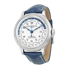 Baume and Mercier Capeland World Time Silver Dial Blue Leather Mens Watch #Casual