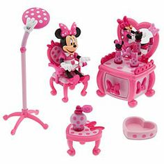 "The Disney Store 'Minnie Mouse"" Beauty Shop Play Set Toddler Toys, Baby Toys, Kids Toys, Toddler Girls, Mickey Mouse Toys, Minnie Mouse Party, Monster High Birthday, Disney Junior, Mickey And Friends"