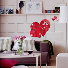3D Mirror-Surface LOVE Heart Shape Wall Sticker for Home Decoration DIY Art Heart Wall Stickers, Living Room Decor, Mirror Wall Living Room, Wall Stickers Bedroom, Home Decor, Living Room Mirrors, Living Room Wall, Sticker Wall Art, Mirror Wall Stickers
