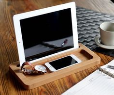 Settle in and drop everything into the Wooden #Tablet #Shelf from FistCase.