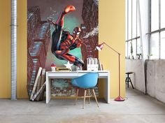 Marvel Spiderman Jump Wall Mural - Komar All Action - http://godecorating.co.uk/komar-marvel-spiderman-jump-wall-mural/