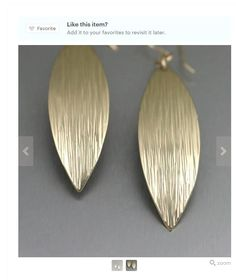 Stylish Chased Gold Leaf Earrings Listed on #Etsy #21stAnniversary #Hancrafted https://www.etsy.com/listing/246404112/chased-nu-gold-brass-medium-leaf