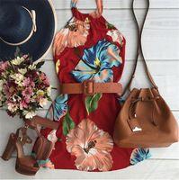 2016 nova chegada moda verão flor impressão mulheres vestido elegante vestido De pescoço Vestidos De Festa vestido De praia
