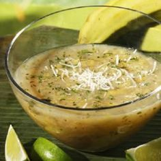Make this by omitting the parmesan cheese and black pepper. Shredded plantains and fresh cilantro combine in a refreshing Puerto Rican soup. Puerto Rican Cuisine, Puerto Rican Recipes, Cuban Recipes, Soup Recipes, Cooking Recipes, Healthy Recipes, Healthy Foods, Boricua Recipes, Spanish Recipes