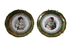Paire de petites assiettes en porcelaine Napoléon et Joséphine porcelaine de Limoges vintage idée cadeau de Noël