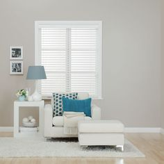 Accessories Furniture. Classy Venetian Blinds To Complement Your Home Window. Modern Venetian Blinds Design With Achim Importing Luna 2 Vinyl Venetian Blind With 2 Valance And Light Blue Round Table Lamp And White Photo Frame Wall Along With White Unique Shape End Table Also White Soft Fabric Armchair And White Cushion Ottoman Also White Furry Rug. Venetian Blinds
