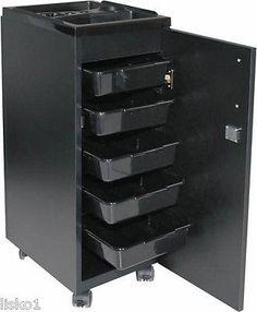 ASCOT #910373B Locky II Locking Salon Roller Cart, storage, 5-drawers (black)
