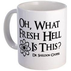 "Fresh Hell Mug. I need one of these for work! Needs to say ""bazinga!"" on the other side. Fresh Hell Mug. I need one of these for work! Needs to say bazinga! on the other side."