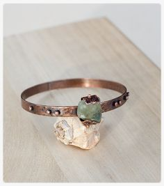 Forged rustic copper bracelet texturized copper by AnniamAeDesigns