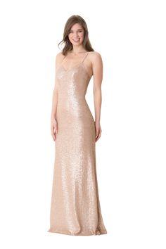b6efc53b89 Bari Jay 1666 is a long slim fit Sequin bridesmaid dress with halter neck  spaghetti straps