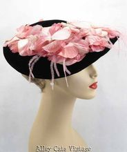 Vintage 1950s 50s Hat Black Velvet with Pink Silk Flowers Platter Style