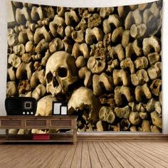 Halloween Skull Wall Printed Wall Art Tapestry - KHAKI GREY W59 INCH * L59 INCH Mobile