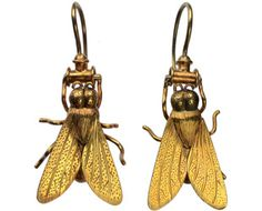 An exceptional and rare pair of high karat English Victorian earrings. The fly was a popular Victorian naturalist motif and a symbol for humility.
