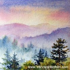"""Mountain Sunset"" Original Miniature Watercolor 4""x4"" (9""x9"" framed size includes the custom cherry (1/2"" wide) frame, double archival matting, acid free backing and UV protection glass)."